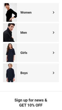 Categories on Homepage